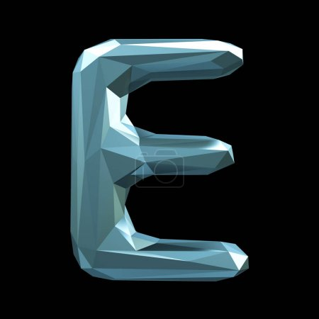Capital latin letter E in low poly style isolated on black background.