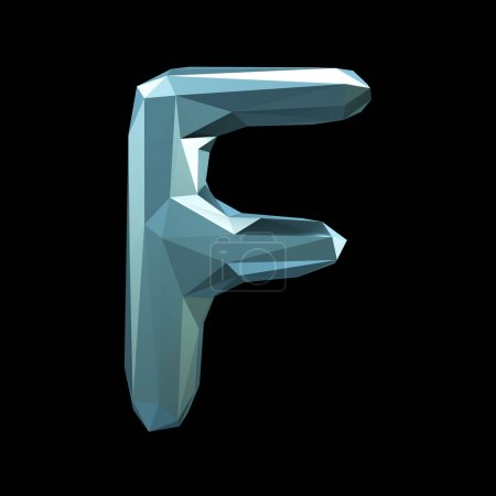 Capital latin letter F in low poly style isolated on black background