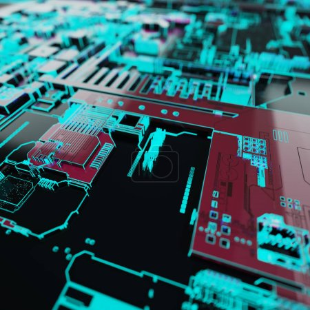 Photo for Circuit board futuristic server code processing. Neon color technology background. 3d rendering abctract circuit board. - Royalty Free Image