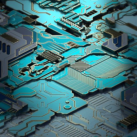 Photo for Circuit board futuristic server code processing. Turquoise technology background. 3d rendering abctract circuit board. - Royalty Free Image
