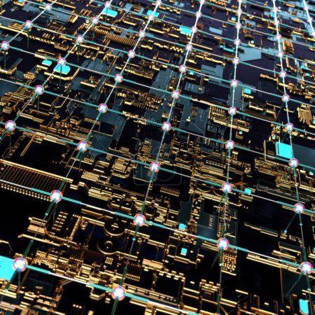 Photo for Circuit board futuristic server code processing. Angled view multicolor technology black background. 3d rendering abstract circuit board - Royalty Free Image