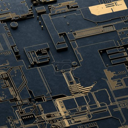 Photo for Circuit board futuristic server code processing. Gold and black technology background. 3d rendering abctract circuit board. - Royalty Free Image