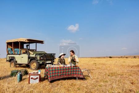 Family on African safari
