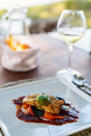 Photo for Healthy food delicious lunch chicken with vegetables - Royalty Free Image