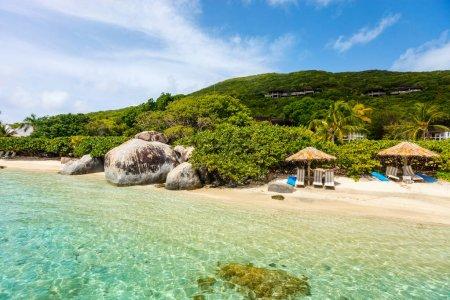 Photo pour Belle plage tropicale avec palmiers, sable blanc, eau de mer turquoise et ciel bleu aux îles Vierges britanniques dans les Caraïbes - image libre de droit