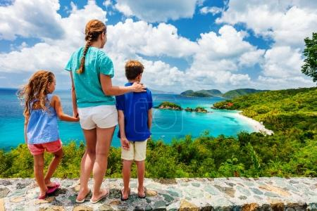 Family of mother and kids enjoying aerial view of ...