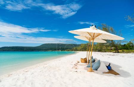 Photo for Landscape photo of beautiful white sand exotic beach on Koh Rong island in Cambodia - Royalty Free Image