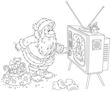 Santa turning on his TV
