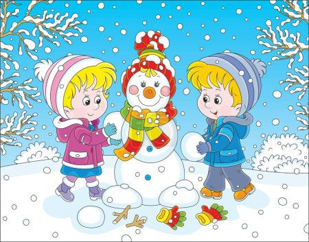 Illustration pour Une petite fille et un petit garçon faisant un bonhomme de neige souriant avec une casquette colorée et une écharpe - image libre de droit