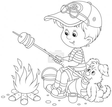Illustration for Black and white vector illustration of a little boy traveler and his small pup cooking bread on fire - Royalty Free Image