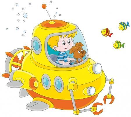 Little submariner under water