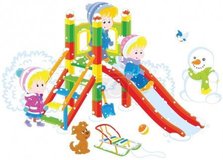 Illustration pour Illustration vectorielle de petites filles et garçons jouant sur un toboggan dans une aire de jeux en hiver - image libre de droit