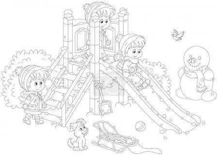 Illustration pour Illustration vectorielle en noir et blanc de petites filles et garçons jouant sur un toboggan dans une aire de jeux en hiver - image libre de droit