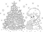 Girl with a Christmas gift A black and white vector illustration of a little girl with her holiday gift near a decorated Christmas tree