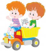 Vector illustration of children playing with a big lorry and a small kitten