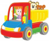 Vector illustration of a little boy playing in a big toy truck with a teddy bear and a small leopard