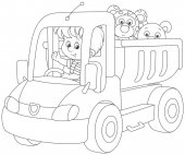 Black and white vector illustration of a little boy playing in a big toy truck with a teddy bear and a small leopard