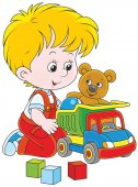 Vector illustration of a little boy playing with a toy truck a teddy bear and cubes