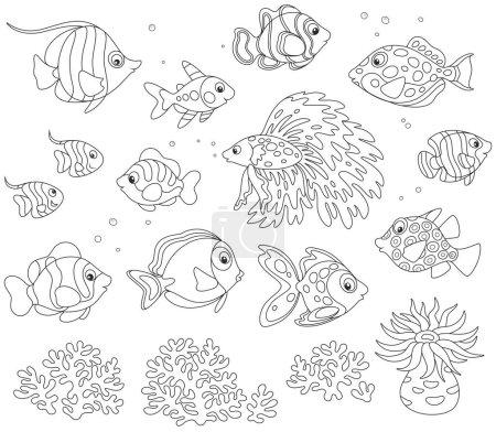 Blanco y negro vector conjunto de peces en estilo de dibujos animados