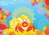 A Diogenes-crab with an actinia on a colorful coral reef in a tropical sea a vector illustration in cartoon style