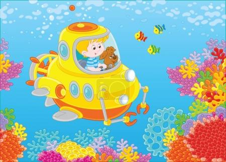 Toy deep-sea bathyscaphe piloting by a little boy with his pup exploring a colorful coral reef with funny fishes in a tropical sea. Vector illustration in cartoon style