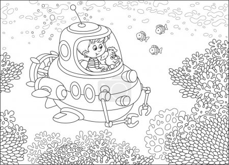 Toy deep-sea bathyscaphe piloting by a little boy with his pup exploring a coral reef with funny fishes in a tropical sea. Black and white vector illustration in cartoon style for a coloring book