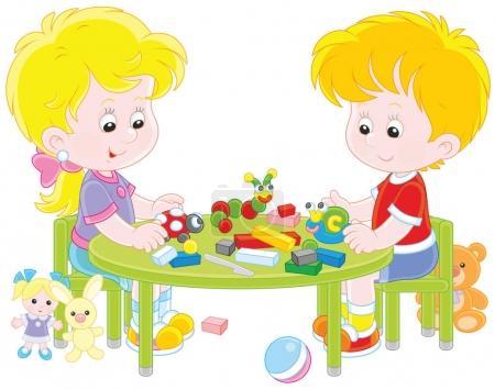 Illustration pour Petits enfants sculptant des figurines d'animaux drôles de plasticine, une illustration vectorielle en style dessin animé - image libre de droit