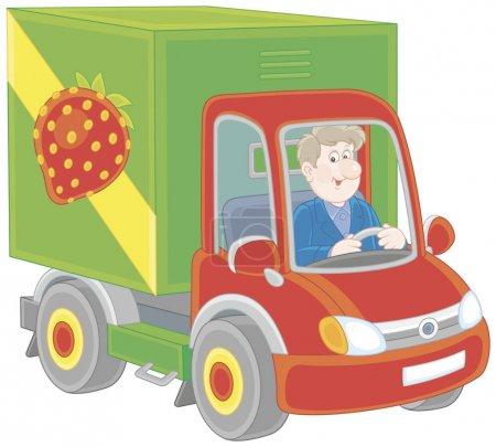 Illustration pour Homme souriant conduisant son camion avec des légumes et des fruits, une illustration vectorielle dans le style de dessin animé - image libre de droit