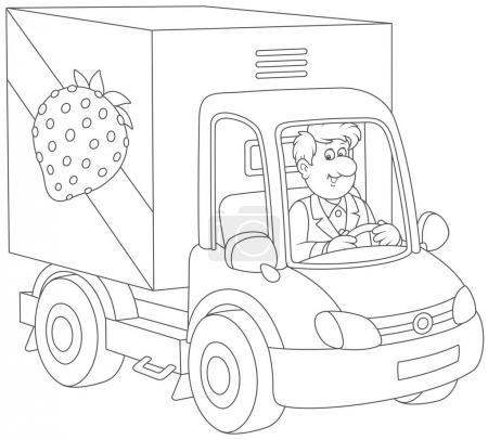 Illustration pour Homme souriant conduisant son camion avec des légumes et des fruits, une illustration vectorielle en noir et blanc dans un style de dessin animé pour un livre de coloriage - image libre de droit