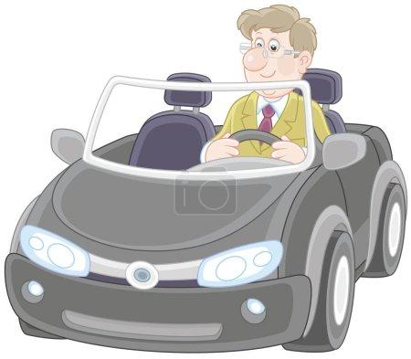 Illustration pour Cabriolet noir. Homme souriant conduisant sa voiture de sport, une illustration vectorielle dans le style de dessin animé - image libre de droit