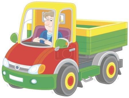 Illustration pour Un camionneur. Homme souriant conduisant son petit camion, une illustration vectorielle dans le style de dessin animé - image libre de droit