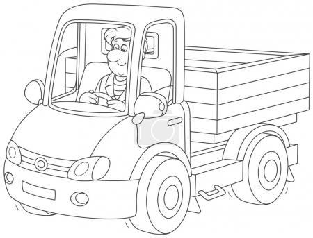 Illustration pour Un camionneur. Homme souriant conduisant son petit camion, une illustration vectorielle en noir et blanc de style dessin animé pour un livre à colorier - image libre de droit