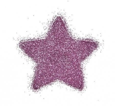 Star made of pink sparkles for make-up