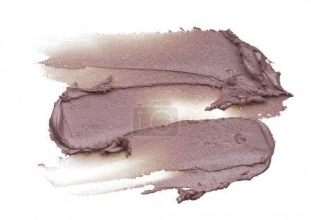 Photo pour Surligner la texture sur fond blanc. Texture luminisante isolée sur blanc. Frottis de maquillage rose de brillant à lèvres isolé sur blanc - image libre de droit