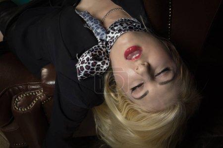 Crime scene (imitation). Strangled business woman in the classic