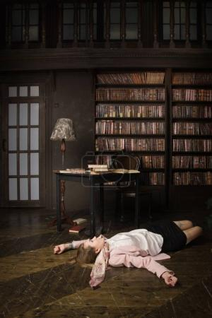 Crime scene (imitation). Strangled young student  in the classic