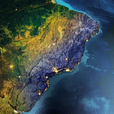 Photo pour L'Amérique du Sud, Brésil, Argentine. Éléments de cette image fournie par la Nasa. rendu 3D - image libre de droit