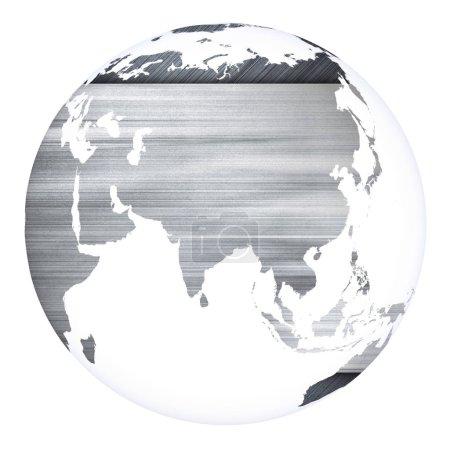 Photo pour Planète Terre concept projet sphère. Blanc isolé. Éléments de cette image fournis par la NASA. rendu 3D photo mixte et 3D - image libre de droit