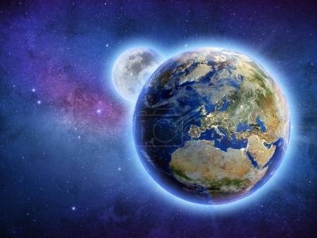 Galaxy universe planet Earth and Moon 3d rendering