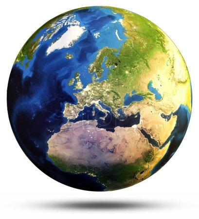 Photo pour Carte de terre de sphère. Éléments de cette image fournie par la Nasa. rendu 3D - image libre de droit