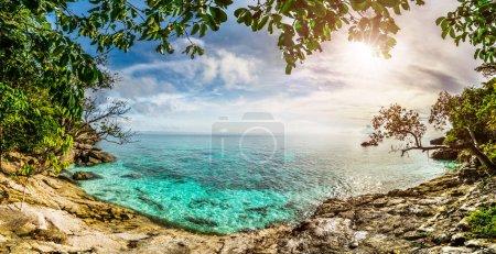 Tropical lagoon sunset