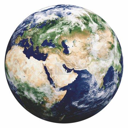 Foto de Planeta Tierra en blanco. Elementos de esta imagen proporcionados por la NASA. renderizado 3d - Imagen libre de derechos
