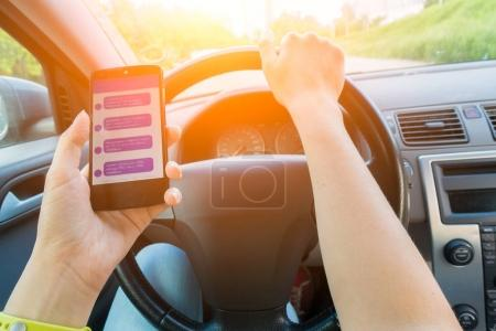 Driver keeps smartphone with correspondence