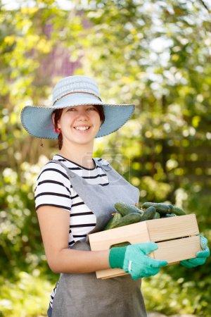 Photo of happy woman agronomist