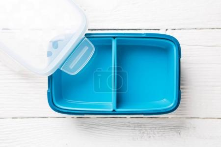 Image of blue lunchbox with lid