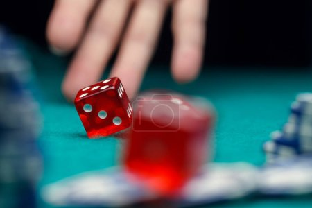 Photo of dice, chips, palm in casino on green table