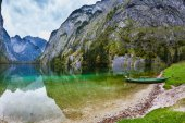 Fishing boat in shallows of lake