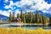 Wooden bridge over Emerald Lake