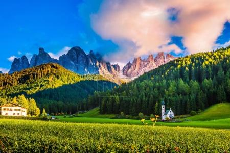rocks of Tirol and green forest