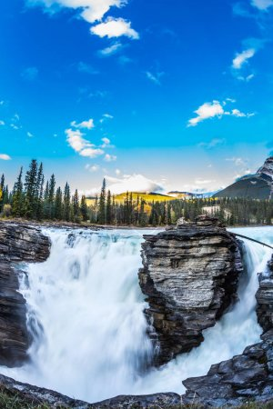 Blue water of Athabasca waterfall